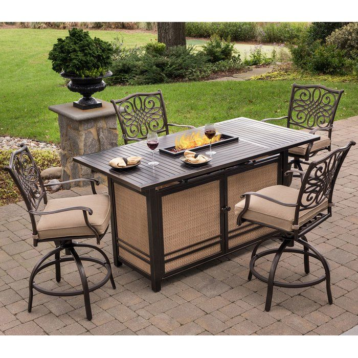 Carleton 5 Piece Bar Height Dining Set With Cushions Outdoor Patio Bar Sets Patio Bar Set Fire Pit Dining Set