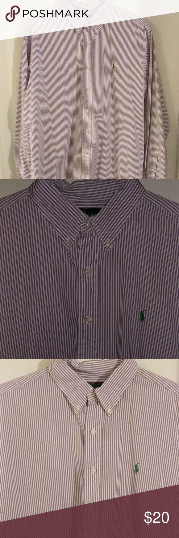 Polo Dress Shirt White with Purple Stripes & Green Polo Symbol Polo by Ralph Lauren Shirts Dress Shirts