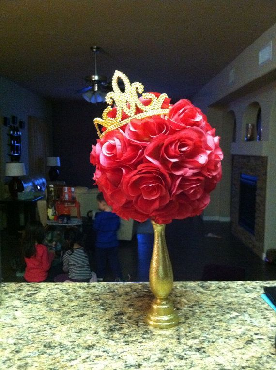beauty & the beast quinceanera | Beauty and the Beast Centerpieces | Beauty and the Beast inspired rose ...