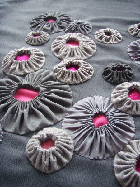 Suffolk Puffs textured surface pattern creation; fabric manipulation idea; creative textiles // Ruth Singer