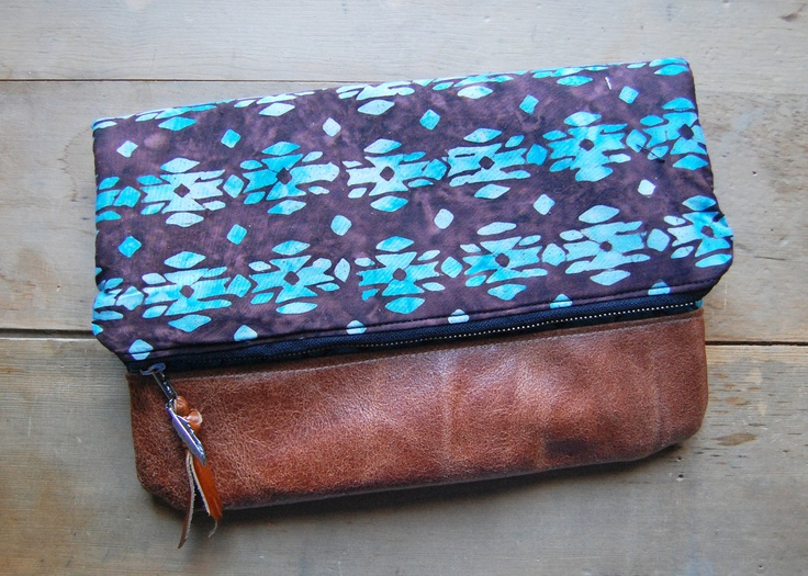 LEATHER CLUTCH -  batik fabric and brown leather fold-over clutch