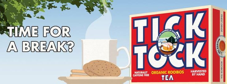 """2013:  Tick Tock has proudly become Britain's favourite Rooibos tea, and its iconic pack can be found in kitchen cupboards across the country. With the addition of light and refreshing Organic Green Rooibos Tea and zesty and comforting Rooibos Honey Lemon & Ginger, it has truly become the nation's """"Tea for Anytime""""."""