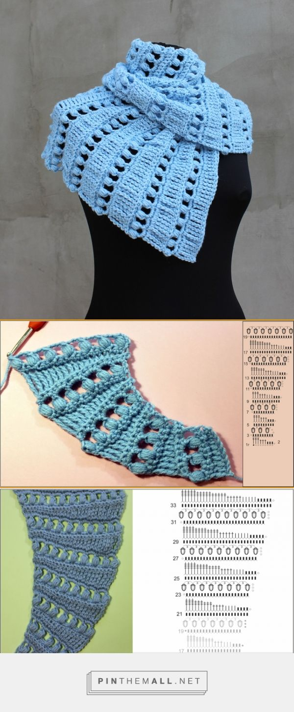 Crochet scarf baktus free pattern and video tutorial