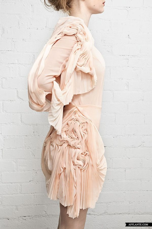 Beautiful fabric manipulation for fashion - soft nude blush dress with patterned, dimensional textures #textiles // Lauren Jones 'Strictly for the Birds' 2012