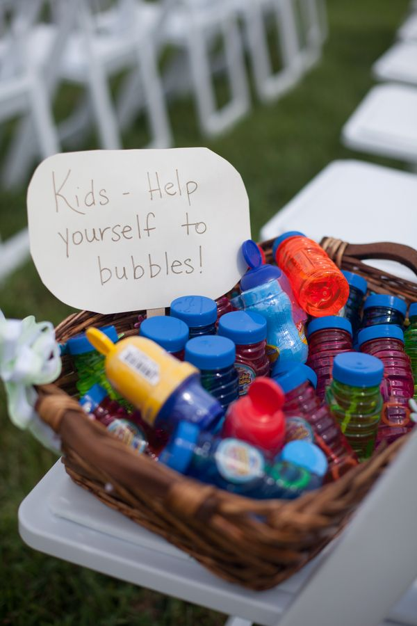 Bubbles at the outdoor wedding or reception to keep the little ones busy.