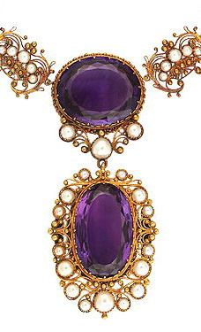 158 best amethyst jewelry images on pinterest amethyst jewelry english victorian amethyst gold necklace circa 1850 gold amethyst and pearl necklace circa mozeypictures Gallery
