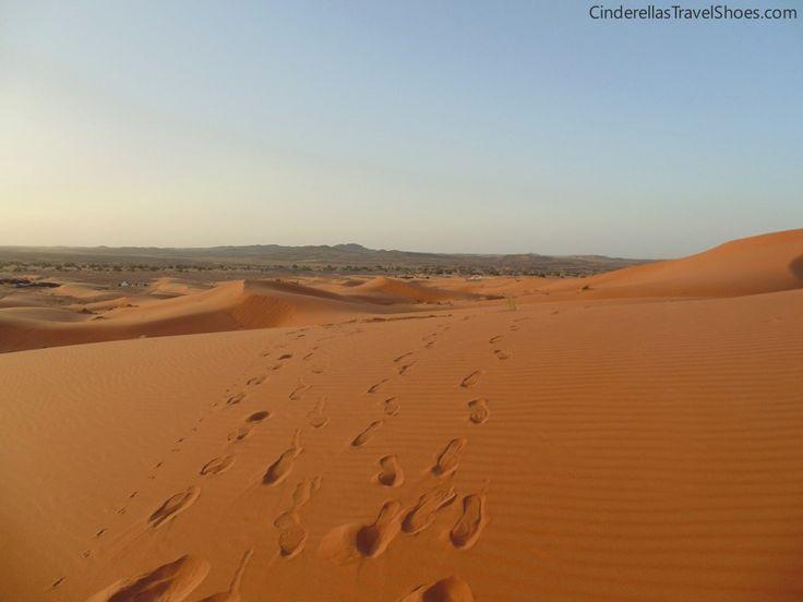 Orange color of Sahara desert in Morocco after sunrise