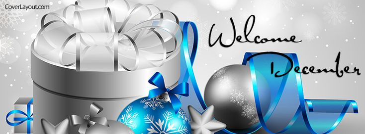 Welcome December Facebook Cover   Blue and White Christmas Welcome December Facebook Cover Layout
