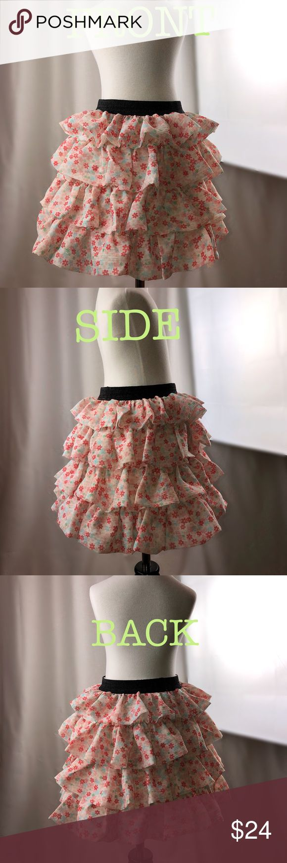 OHOO Girl's kids pink flower tiered  ruffle skirt ✅Brand New OHOO ruffle skirt    ✅Color is salmon pink 🌸  only 1 available   ✅elastic waist    ✅shell : polyester, lining : cotton   ✅size is 6 , 6x , 7 ( for height 130cm )  ✅dress in mannequin is actual clothing    ✅for dramatic expression of photo   💕mannequin wears tutu under the dress (Tutu is not included) OHOO Dresses