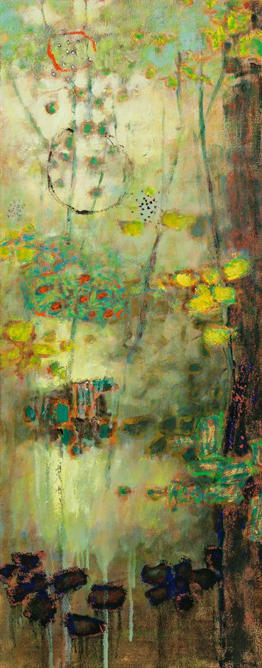 "Rick Stevens, ""Lost World,"" Oil on Canvas, 50""x21"", framed"