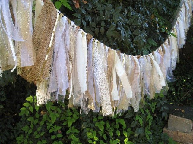 Wedding Garland, Wedding Banner, Wedding Decoration, Rustic Wedding Decor, Fabric Garland, Shabby Cottage Chic, Bridal Shower Decor. $80.00, via Etsy.