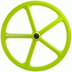 700C Aerospoke - Lime Green Front