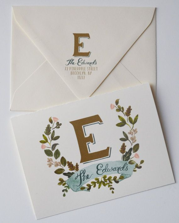 Monogrammed thank you cards .//. Hand-Painted Beauties .//. Paper Goods from The First Snow
