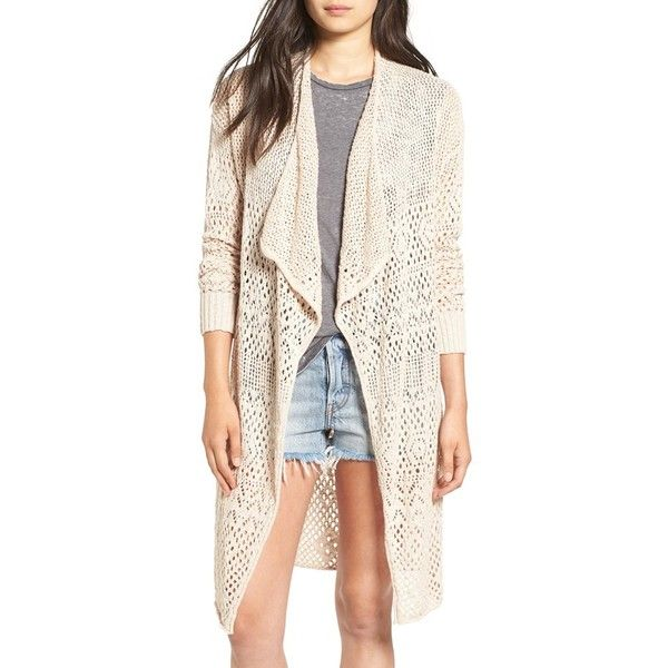 Women's Billabong 'Daydreamin' Cardigan (245 BRL) ❤ liked on Polyvore featuring tops, cardigans, almond, billabong cardigan, longline tops, cardigan top, billabong and pink top