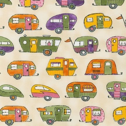 Fabric Summer Retro Camping Trailers, On the Road