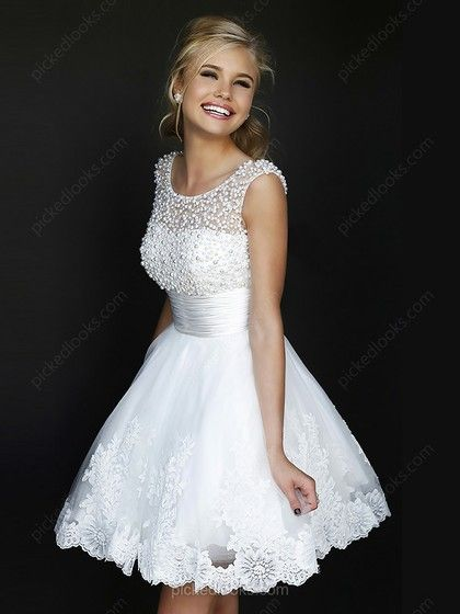 Tulle Scoop Short/Mini A-line Beading Prom Dresses -NZD$158.49