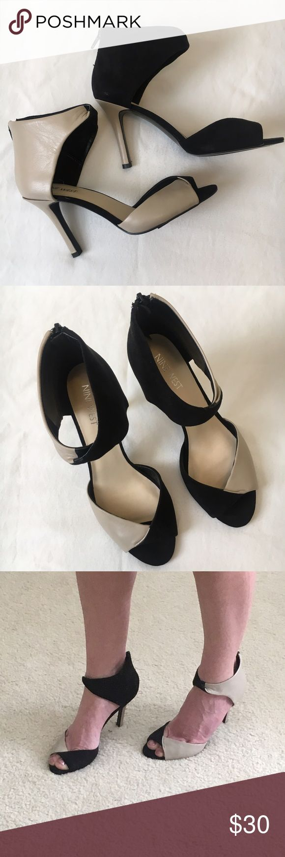 Nine West Two-toned Heels Nine West Two-toned Heels. Peep toe, Textile/Leather upper. Never worn. NIB Nine West Shoes Heels