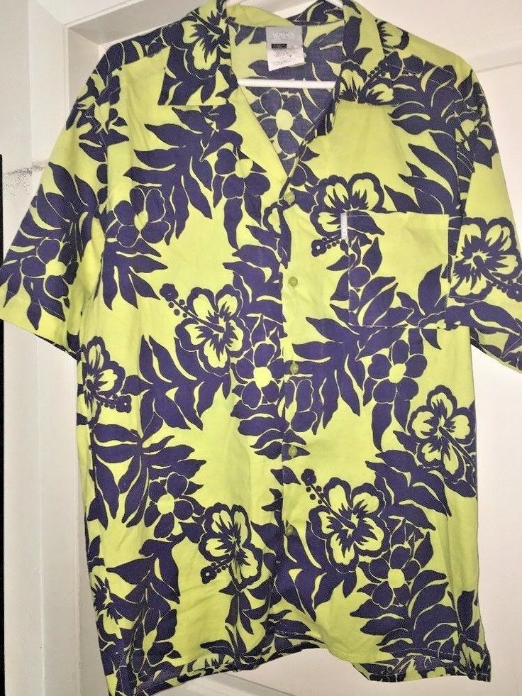 Versace Jeans Couture Floral Hawaiian Print Button Down Shirt Men's Sz L B9 #VersaceJeans #Hawaiian
