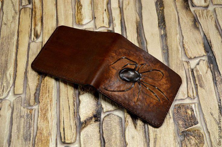 """Купить мужской кошелек """" паук"""" - коричневый, кожаный кошелек, натуральная кожа, портмоне кожа"""