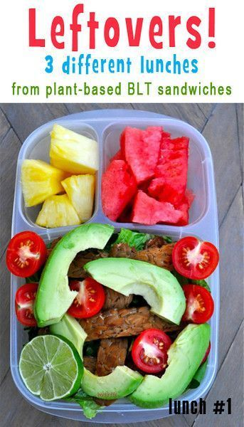 Plant based lunch box meals. A little extra goes a long way! Great ideas for leftovers from veggie-queen Sarah of Bentoriffic ALL 3 MEALS HERE