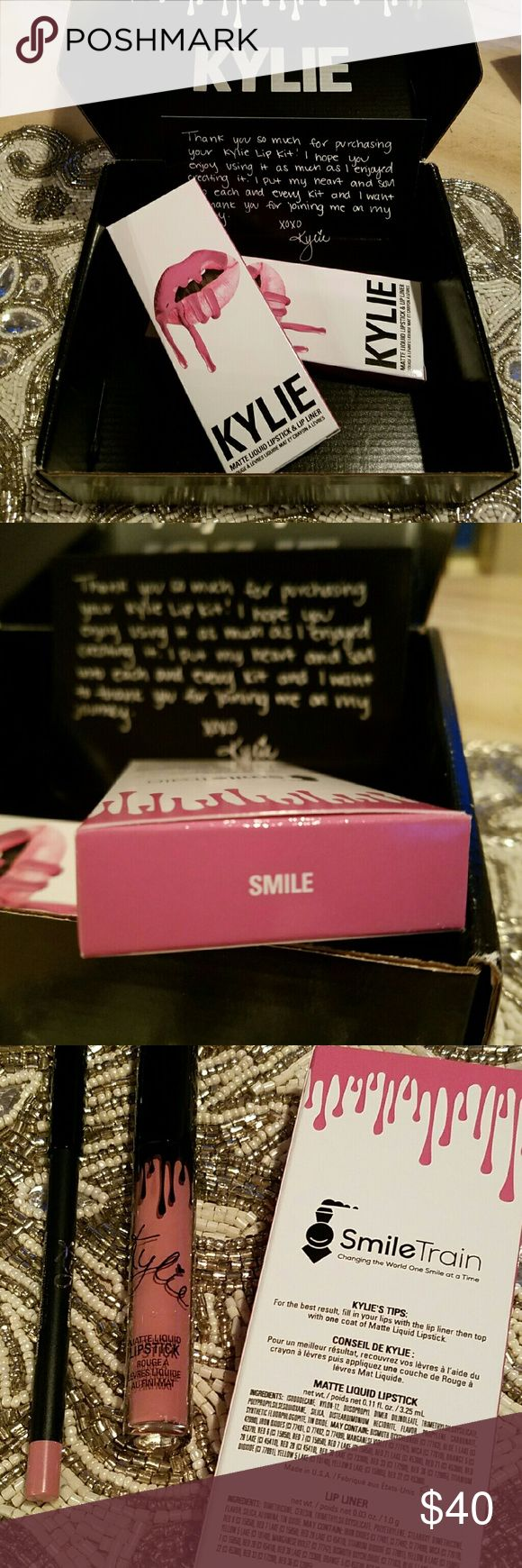 NWT Authentic Kylie Cosmetics Smile Lip Kit Brand New and Authentic Kylie Cosmetics Smile Lip Kit. With Taxes and Shipping this would be $40 from Kylie's Website Bundle 2 or more items with me and you'll be ahead. Kylie Cosmetics Makeup