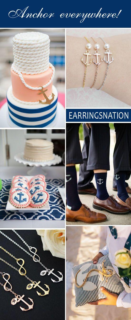 { Wedding Cake via KMK Design ,   Anchor with pearl bracelets via EarringsNation ,   Anchor cookies via Sweet Peach Paperie ,   Anchor ...