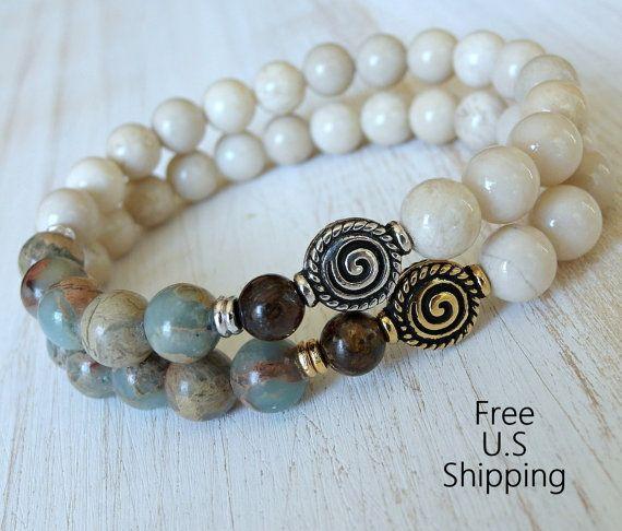 Spiral-Armband, Reiki Symbol, Terra Jasper, Handgelenk Mala, Yoga-Armband, Healing-Armband, Jasper-Armband, Meditation, Aqua Terra Jasper,