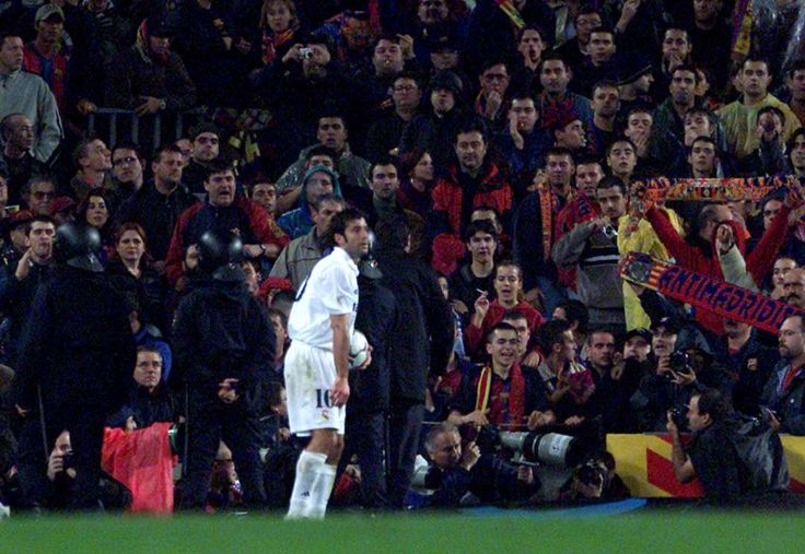 El Clásico classics: the best of Real Madrid v Barcelona:     Barcelona 0‐0 Real Madrid ﴾2002﴿:   Despite ending goalless, the 2002 clash at Camp Nou was one of the most explosive matches in El Clasico history. Luis Figo, who left Barcelona to join Real Madrid in 2000, returned to his former club and faced an unprecedented backlash from the home fans, who hurled cigarette lighters and bottles along with their abuses at the Portuguese.
