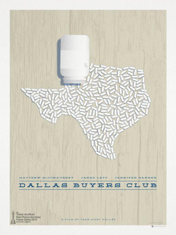 """Dallas Buyers Club"" minimalist movie poster by Hunter Langston, via Behance"