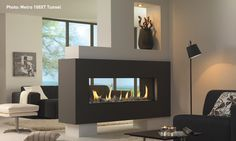 See-through fireplace suspended in half wall
