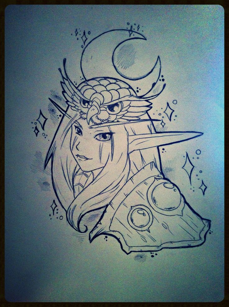 Night elf Druid tattoo flash   Body Art   Pinterest