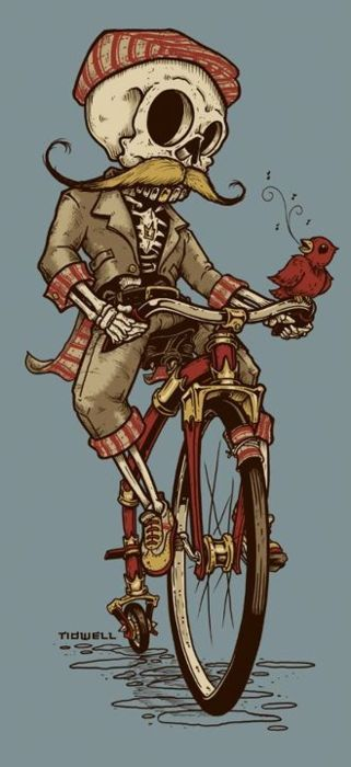 skeleton / bicycle / mustache