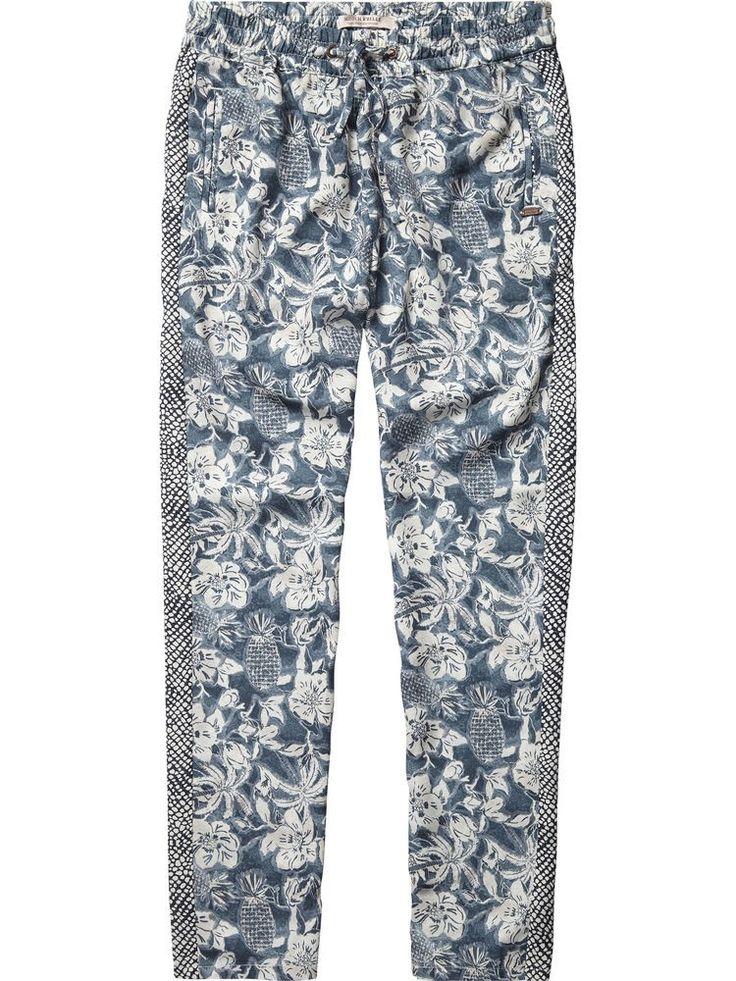 Flower Printed Silky Feel Pants 80412