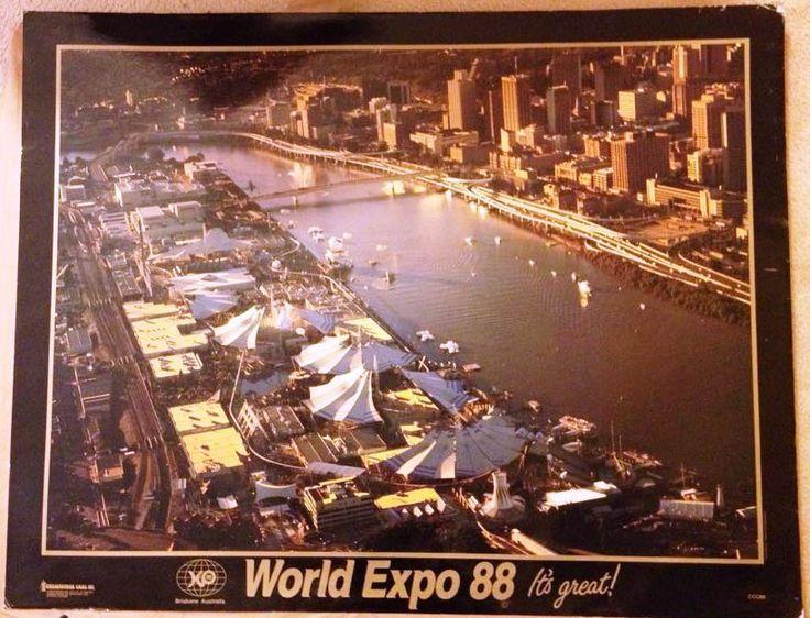Expo 88 Landscape Poster H69CM X W88CM 1988 Brisbane River Photograph   eBay