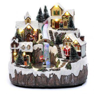 Villaggio di Natale con ruscello di fibra e musica 25x25x17 cm