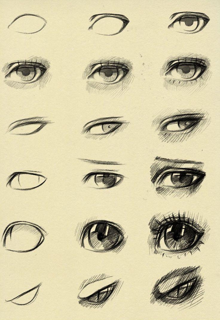 how to draw easy manga eyes