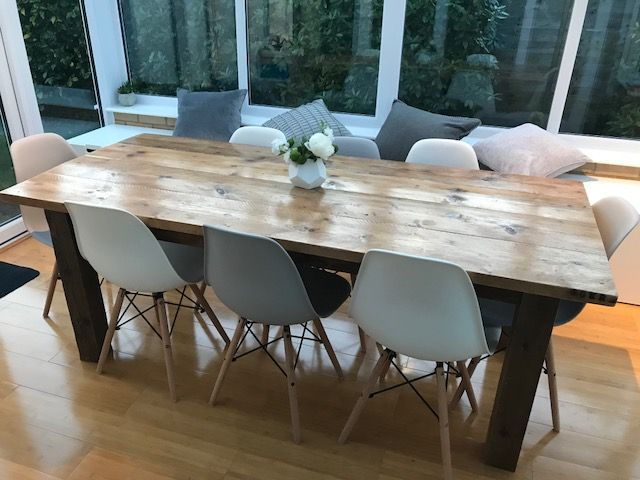 Reclaimed Wood Dining Table Made to seat 8 people this is handmade by me using reclaimed scaffold boards to give a wonderful, rustic, farmhouse look.