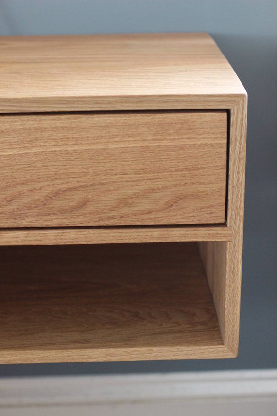 Floating Nightstand With Drawer In White Oak Modern Bedside Table