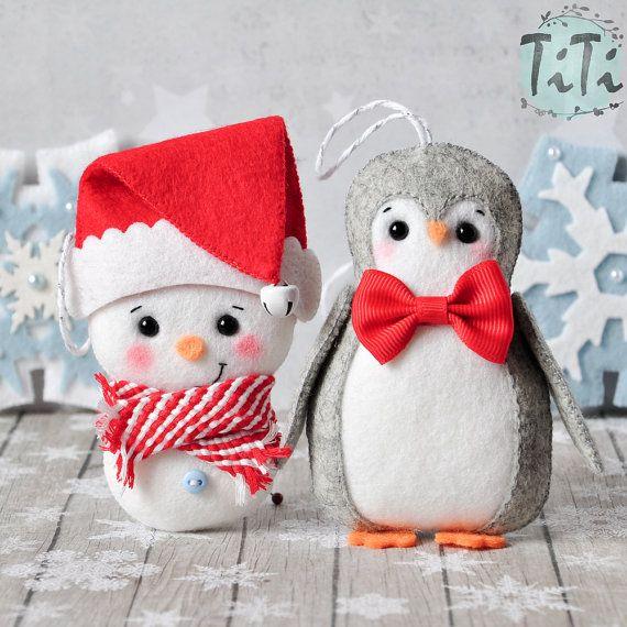 Ornamentos de la Navidad SET de 7 Navidad adornos fieltro