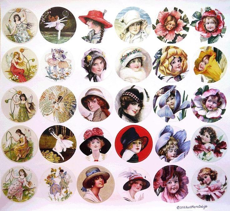 """Vtg Designer Sticker Set 30 2"""" Rd Art Deco Hat Ladies Fairies Flower Babies"""
