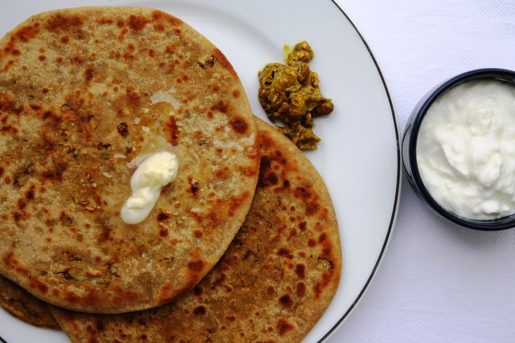 Gobi ke Parathe - Indian flat bread stuffed with spiced cauliflower and fried in butter