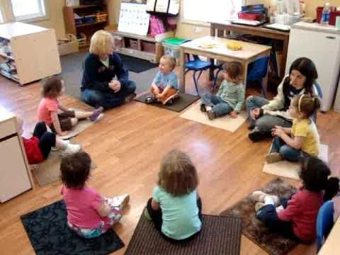 Lots of songs: toddler circle time.  Weather song, good morning friends