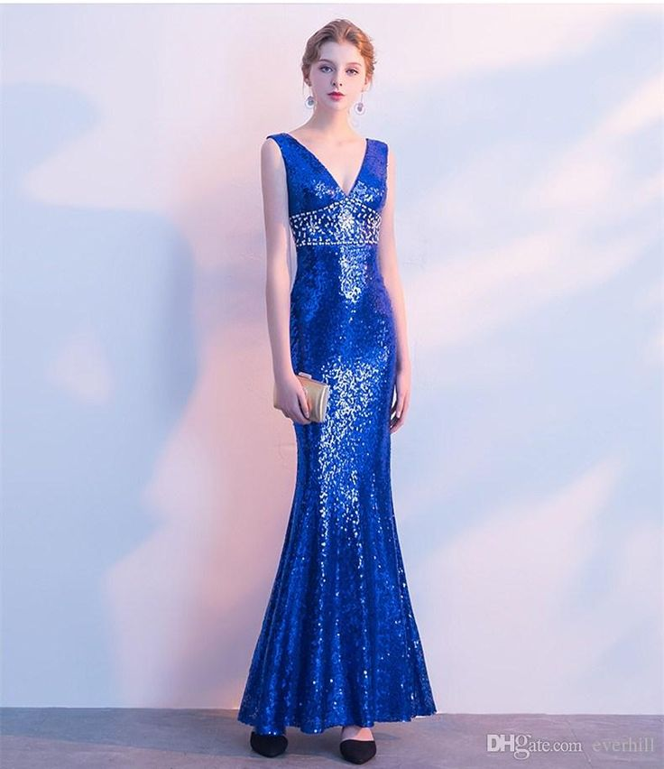 Luxury Mermaid Sequin Evening Dresses Long With Crystal Bling Bling Floor Length Women Formal Dress 2018 V-Neck Blue Celebrity Party Gowns
