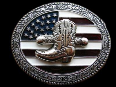 American America USA Flag Western Cowboy Belt Buckle