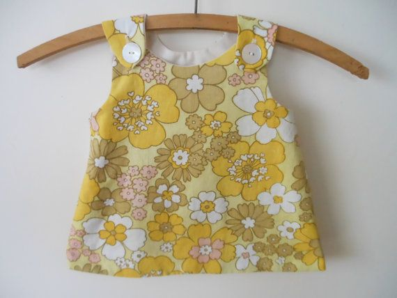 Unique Baby Girl Retro Floral A Line Dress by poppyjanecreations