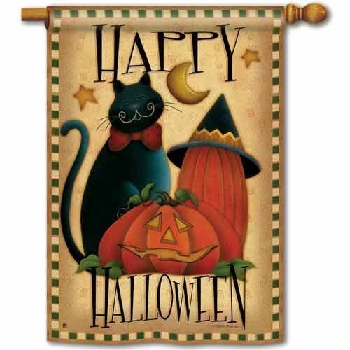 """Happy Halloween Banner Flag by BreezeArt. $15.99. Dimensions: 28"""" x 40"""". Pole hem and attachment tab. Celebrate Halloween with this fun BreezeArt banner flag. Decorated with a jack-o-lantern, black cat, and a witch's hat, this Happy Halloween decorative flag will look great hanging outside your home. Pick up the matching garden flag and mailbox cover and make a set out of it! Measures: 28"""" x 40"""""""