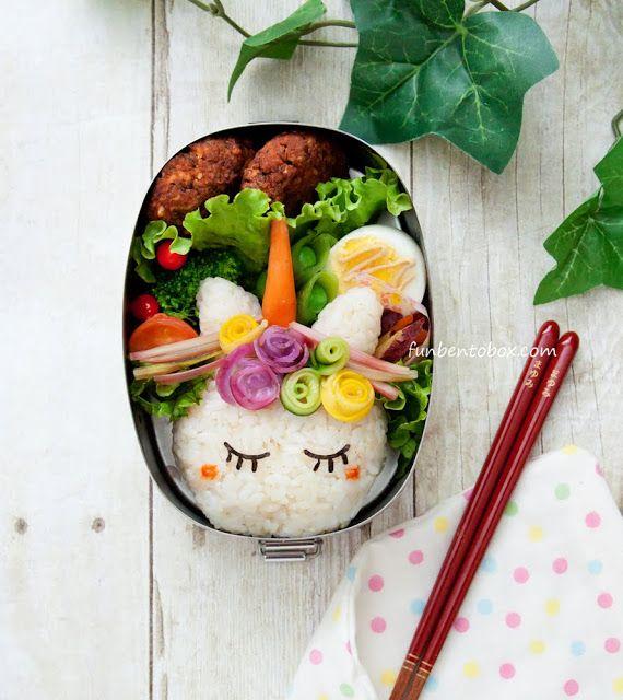 Unicorn Vegetarian Bento. Natural beautiful color of vegetables:Rainbow chard, radish, yellow and green zucchini    funbentobox.com