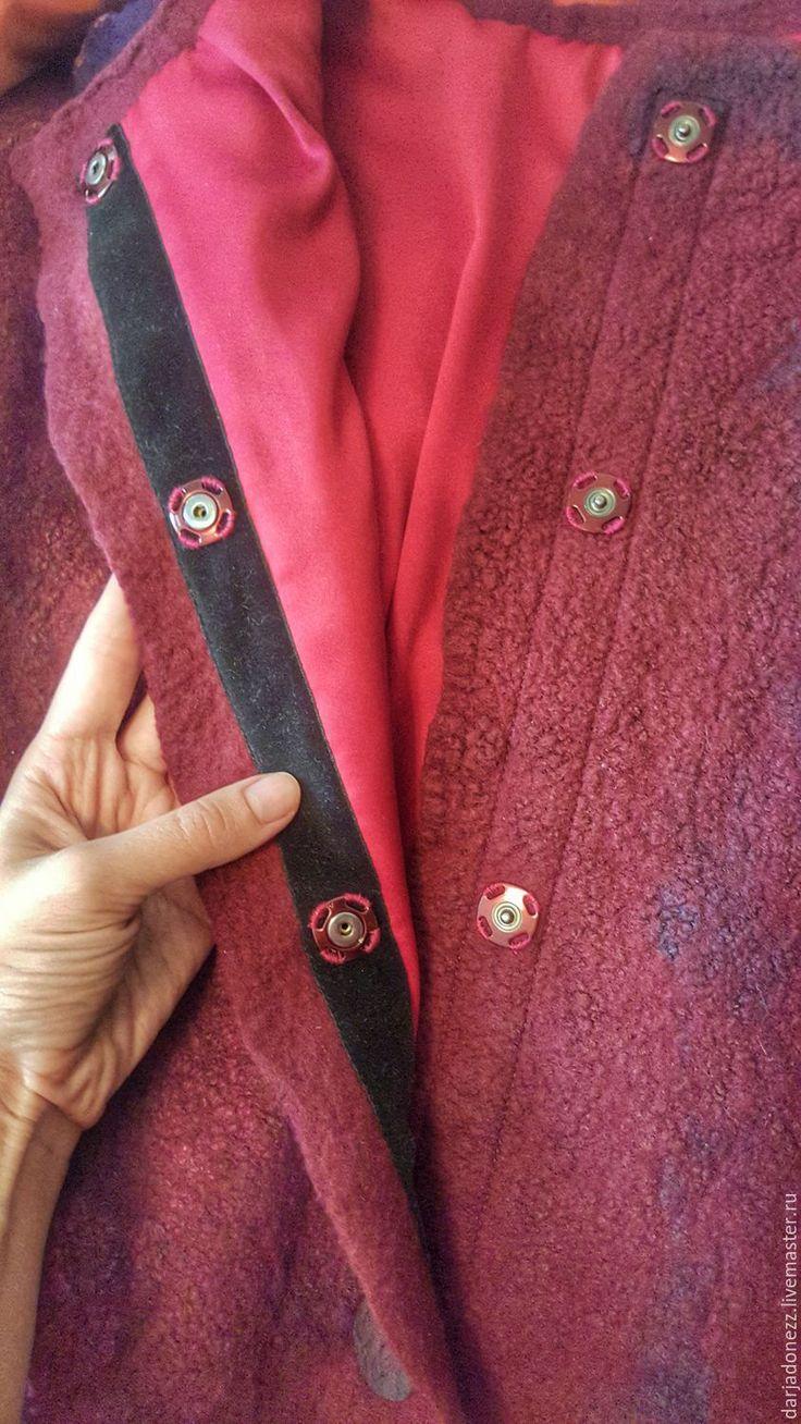 """Купить Жакет ручной работы из шерсти и шелка """"Спелая ягода"""" - бордовый, жакет ручной работы"""