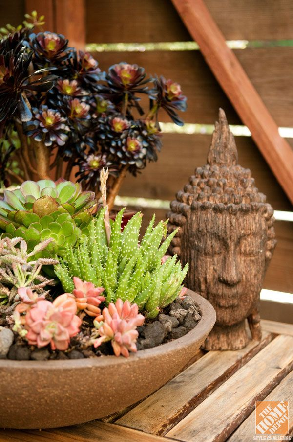 Small Patio Decorating Ideas: Succulents And A Buddha Figure