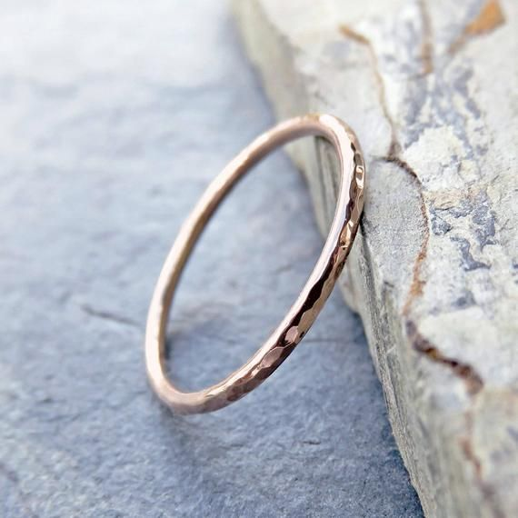 Thin 10k Rose Gold Wedding Band In Smooth Hammered Or Matte Etsy Rose Gold Wedding Bands Engagement Rings Opal Gold Wedding Band